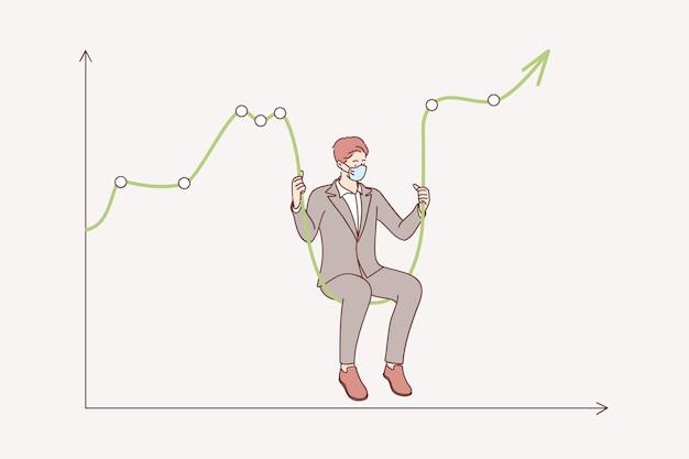 Börsencrash während des coronavirus-konzepts. geschäftsmann, der medizinische gesichtsmaske trägt, die auf grafik als schaukel sitzt