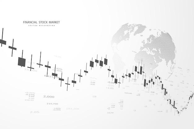 Börsendiagramm oder devisenhandelsdiagramm für geschäfts- und finanzkonzepte, berichte und investitionen auf grauem hintergrund. japanische kerzen. vektor-illustration