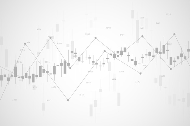 Börsendiagramm oder devisenhandelsdiagramm für geschäfts- und finanzkonzepte, berichte und investitionen auf grauem hintergrund. vektor-illustration