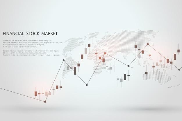 Börsendiagramm oder forex-handelsdiagramm für geschäfts- und finanzkonzeptberichte und investitionen auf grauem hintergrund