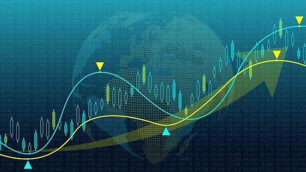 Börsenhintergrund oder devisenhandelsgeschäftsdiagramm für finanzanlagekonzept. business-präsentation für ihr design. wirtschaftstrends, geschäftsidee und technologieinnovationsdesign.