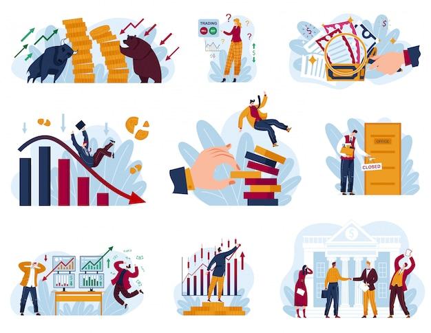 Börsenkonzept-illustrationssatz, karikatursammlung mit händlergeschäftsmann arbeitet in der finanzgeschäftsdatenanalyse