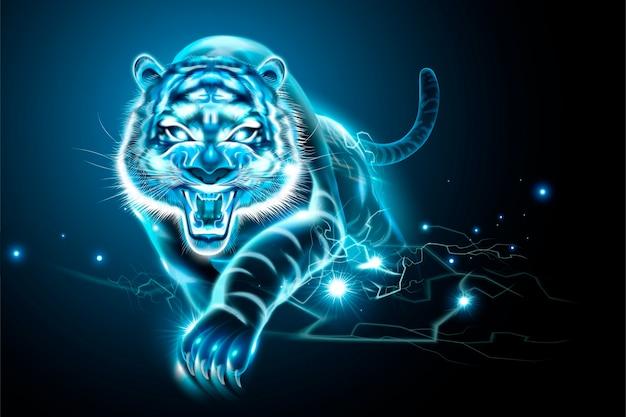Bösartiger tiger mit blitzeffekt im blauton