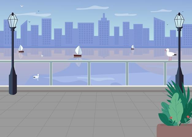 Böschung flache farbabbildung. brücke über den fluss in der stadt. metropole über der küste. modernes panorama in der innenstadt. seestadt 2d-karikaturstadtbild mit skyline auf hintergrund