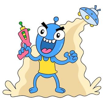 Böse außerirdische steigen von einem beängstigenden ufo-flugzeug mit einer waffe ab, um die welt zu regieren, vektorgrafiken. doodle symbolbild kawaii.