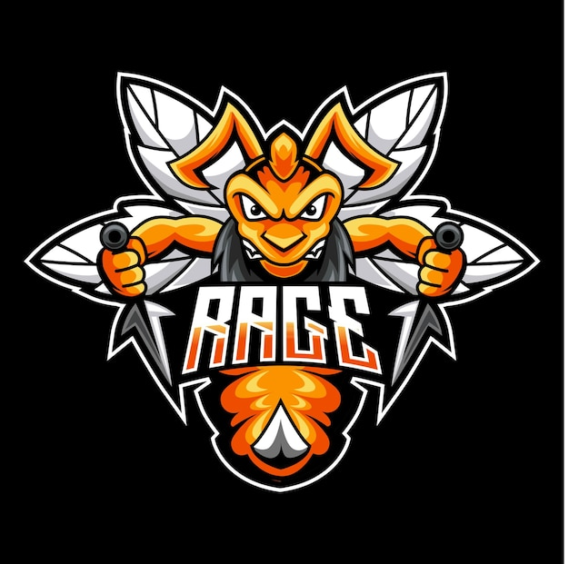 Böse biene, maskottchen-logo