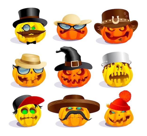 Böse halloween-kürbisse, cartoon-persönlichkeiten, verrückte kürbissymbole gesetzt