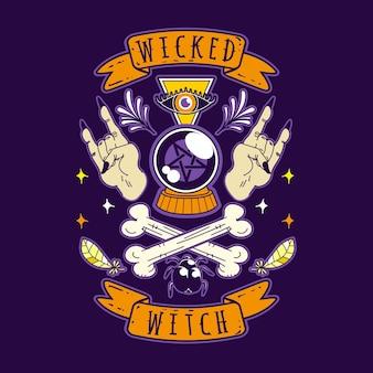 Böse hexe halloween-vektor-illustration