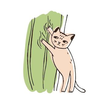 Böse katze, die auf vorhängen klettert, die auf weißem hintergrund lokalisiert werden. lustiges freches kätzchen, das heimtextilien abreißt. ungehorsames verhalten von haustieren oder haustieren. bunte handgezeichnete vektor-illustration.