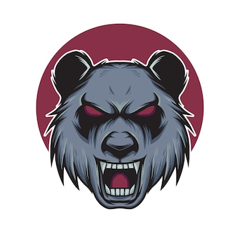 Böse panda kopf maskottchen illustration