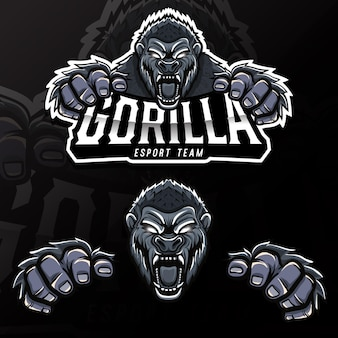 Böse wilde tier gorilla esport logo illustration