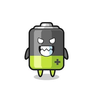 Böser ausdruck des niedlichen maskottchen-charakters der batterie, niedliches design für t-shirt, aufkleber, logo-element