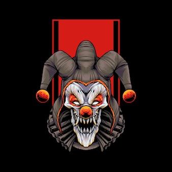 Böser clown t-shirt illustration premium vektoren