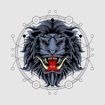 Böser löwe mit heiliger geometrie