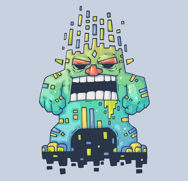 Böser monster-zerstörer. cartoon-abbildung. zeichen im modernen grafikstil.