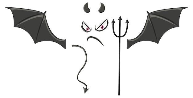 Böses gesicht mit teufelselement