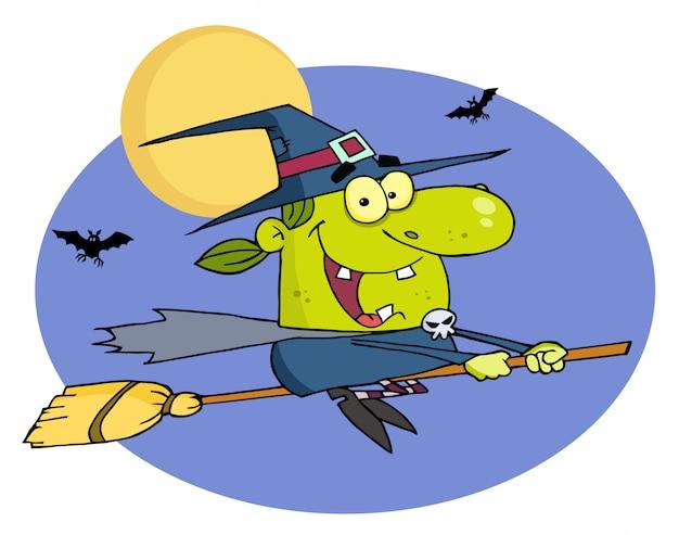 Böses halloween-hexe-fliegen auf einem besenstiel