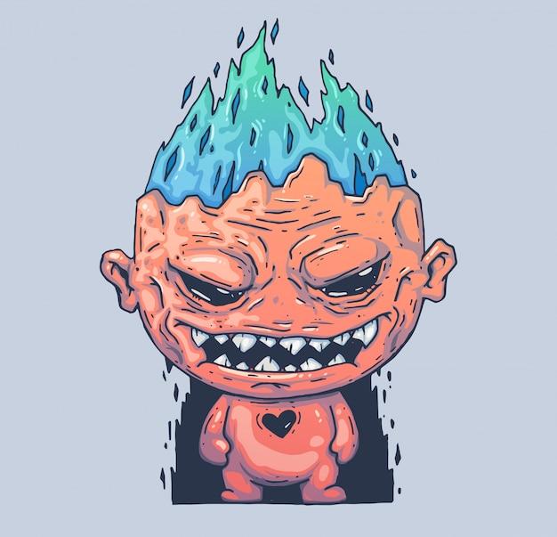 Böses monster mit brennendem kopf. cartoon-abbildung. zeichen im modernen grafikstil.
