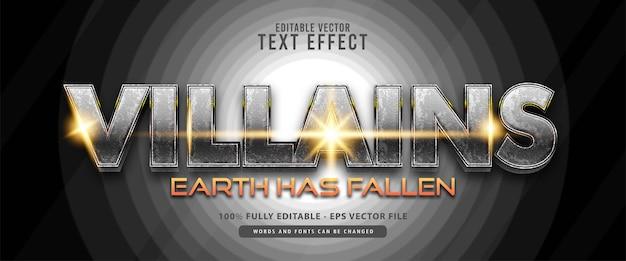 Bösewicht, helden glänzend silbermetallic texteffekt, geeignet für filmtitel, poster und druckprodukte