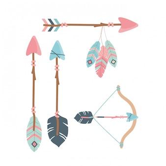 Bogen sie mit pfeilen und federn dekoration boho-stil