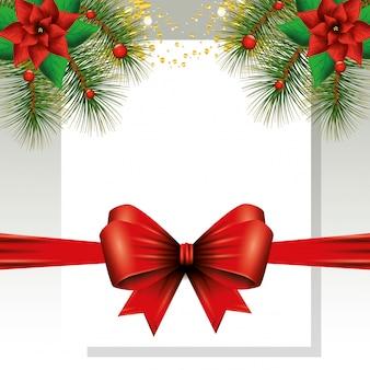 Bogenband mit blumen von weihnachten und von blättern