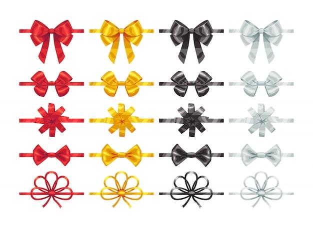 Bogenknotenelemente. sammlung von bunten schleifendekorationsteilen.