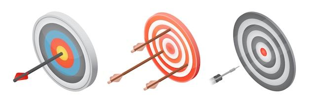 Bogenschießenikonen eingestellt, isometrische art
