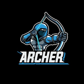 Bogenschütze assasin charakter sport gaming logo maskottchen