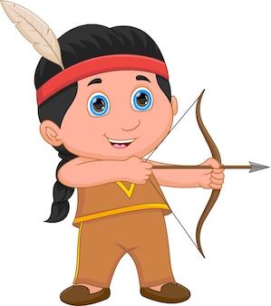 Bogenschütze-junge-cartoon im indianerkostüm der amerikanischen ureinwohner
