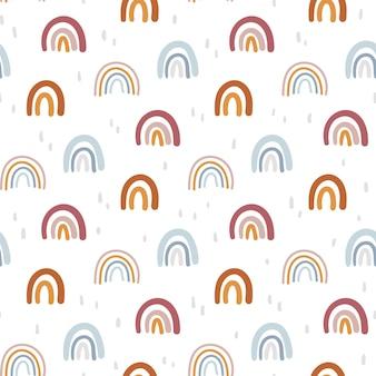 Boho abstrakter regenbogen nahtloses muster oder digitaler geometrischer kinderhintergrundvektor des papiers