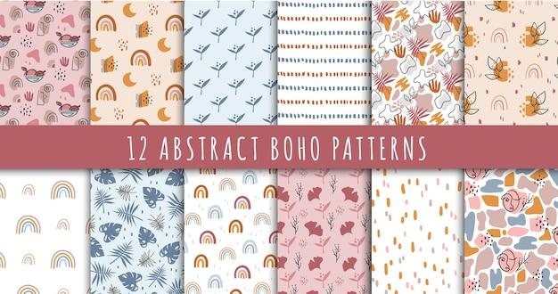 Boho abstraktes nahtloses muster oder digitales papierbündel einfacher geometrischer und floraler hintergrund