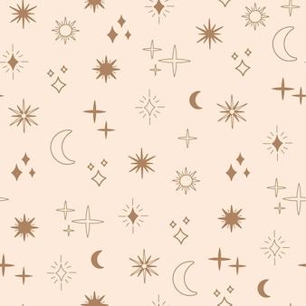 Boho-astrologie und nahtloses sternenmuster, magische himmelsobjekte mond und sonne, goldene einfache linie, böhmische horoskopsymbole und elemente. moderne trendige vektorgrafik im doodle-stil, schicker druck