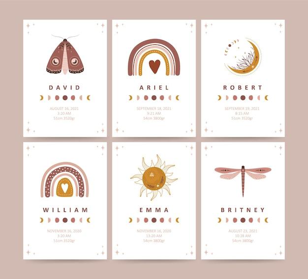 Boho-babyparty-poster. neugeborene metrik. himmlische insekten mit mond und sternen.
