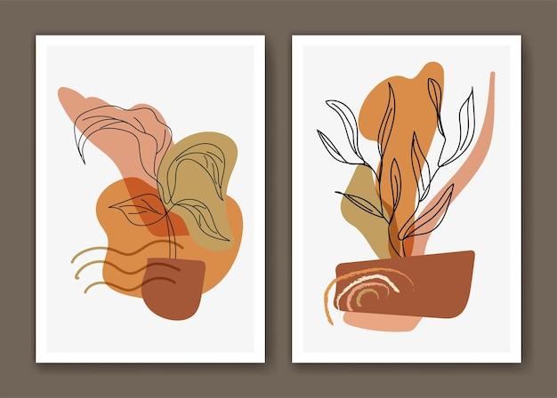 Boho botanische strichzeichnungen mit abstrakter formdekoration