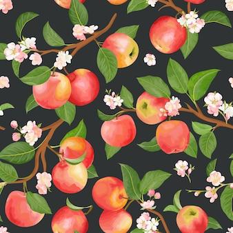 Boho botanischer apfel nahtloses muster. vektorherbstfrüchte, -blumen, -blätterbeschaffenheit. sommerblumenhintergrund, naturtapete, aquarellhintergrundmodetextilien, herbstverpackungspapier