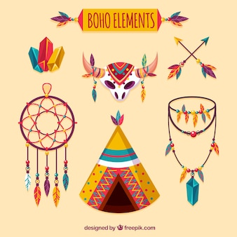 Boho elements sammlung im hippie-stil