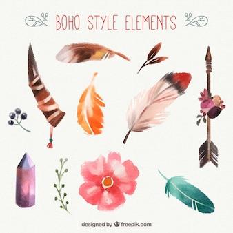 Boho elements sammlung in aquarell-stil