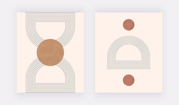 Boho geometrischer wandkunstdruck mit runden formen und linien