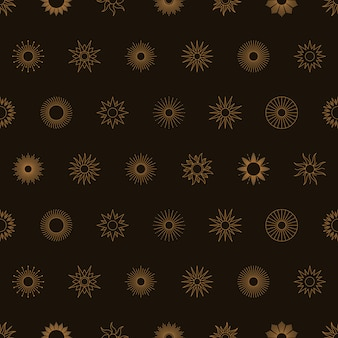 Boho golden sun nahtloses muster im minimalen liner-stil. vektor-dunkler hintergrund für stoffdruck, abdeckung, verpackung.
