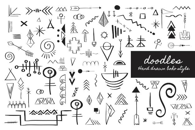 Boho handzeichnung doodle sammlung vektor-illustration