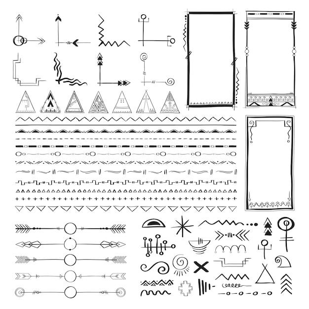 Boho-handzeichnungs-gekritzelsammlungs-vektorillustration