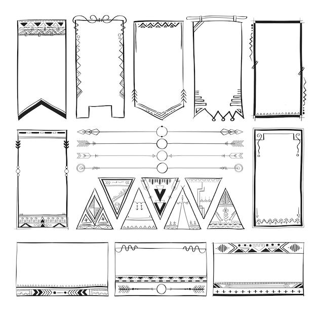 Boho-handzeichnungsgekritzelsammlungs-vektorillustration