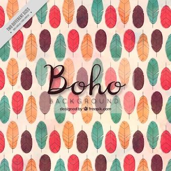 Boho hintergrund mit bunten federn