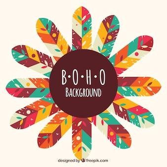 Boho hintergrund mit fantastischen farbigen federn