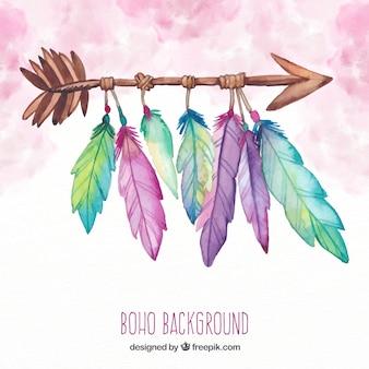 Boho-hintergrund mit federn in der aquarellart