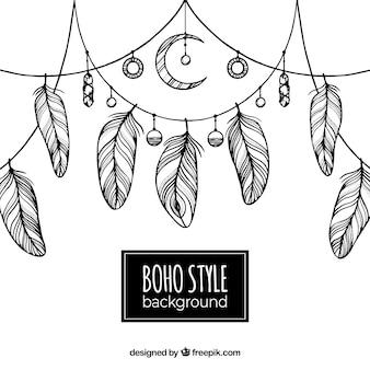 Boho-hintergrund mit hand gezeichneten stil