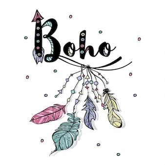 Boho hintergrund mit handgezeichneten federn