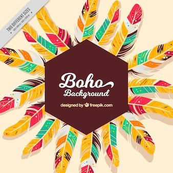 Boho hintergrund mit schönen bunten federn