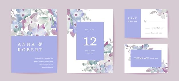 Boho-hochzeitseinladungskarte. vintage save the date hartriegelblumen, blumenschablonendesign-aquarellillustration. vektor-luxuriöses trendiges cover, grafisches poster, broschüre