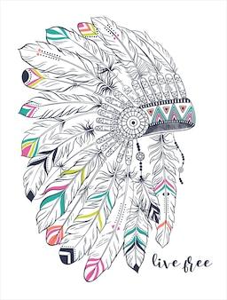 Boho illustration mit kopfschmuck aus federn